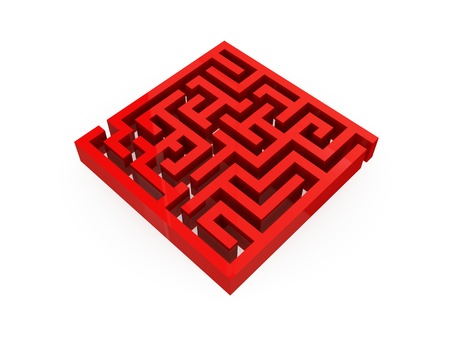 Illustration of labyrinth isolated on white.3d rendered. illustration
