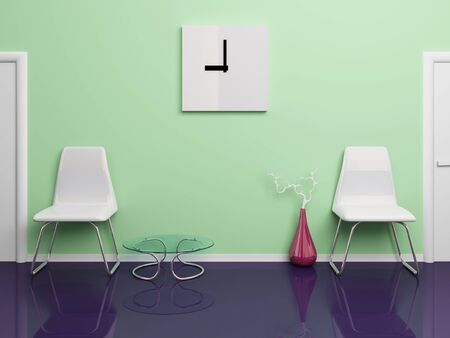 Two white plastic chairs,  square clock, red vase, glassy table in office corridor. 3d rendered illustration. illustration