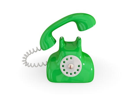 Cartoon retro telephone. Isolated on white background.3d rendered. photo