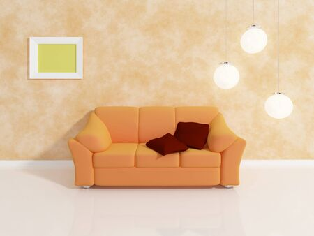 commodious: Modern interior composition with a brown sofa.