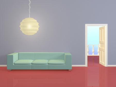 commodious: Modern interior composition with a green sofa.