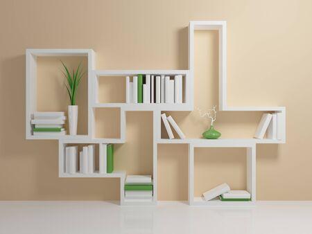 Estantería blanca con un par de libros blancos y verdes contra la pared de color beige.