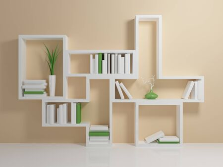 book shelf: White bookshelf with a white and green books against beige wall. Stock Photo