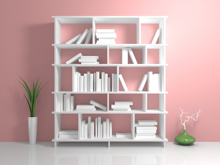 White bookshelf with a white books against pink wall. photo