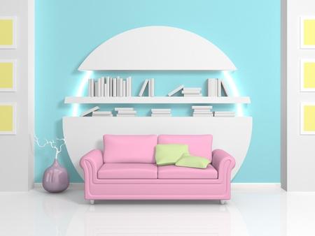 Modernl interior with pink sofa and white bookshelf photo