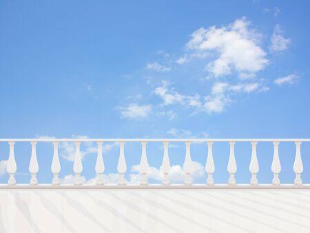 terrace: Empty classic terrace against the blue sky. Stock Photo