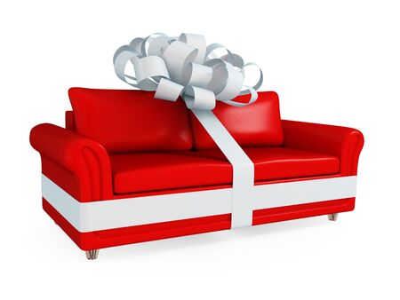 Red leather sofa wrapped with a white ribbon. Big SALE concept. Isolated on white background. 3d rendered. photo