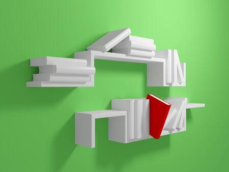White bookshelf on green wall with blank white books and one falling red book. 3d rendered. photo