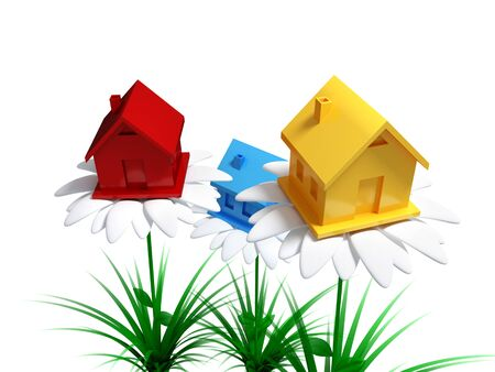 Yellow, red and blue houses on a big white flowers. Investments to real estate concept. Isolated on white background. 3d rendered. photo