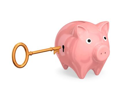 Pink piggy-bank with keyhole and vintage golden key. Isolated on white background. 3d rendered. photo