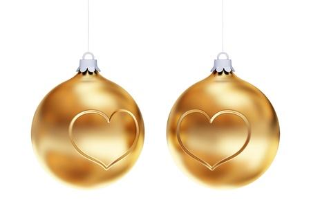 bedeck: Golden Christmas balls isolated on white background.3d rendered.