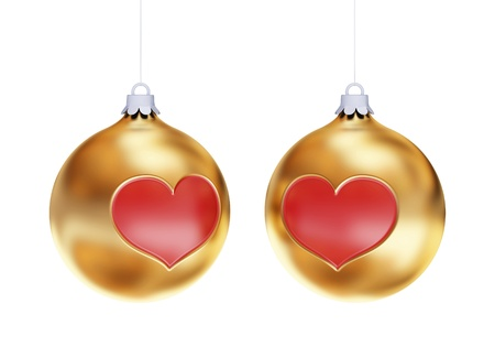 bedeck: Golden Christmas balls with red hearts isolated on white background.3d rendered. Stock Photo