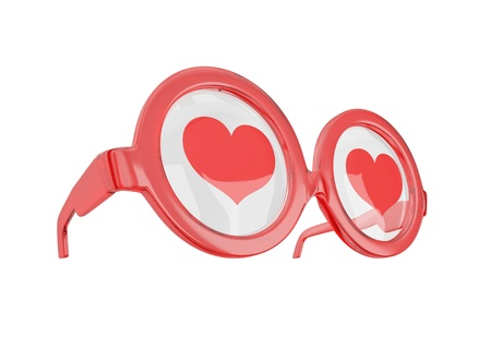 Blind love concept. Glasses with hearts isolated on white. photo