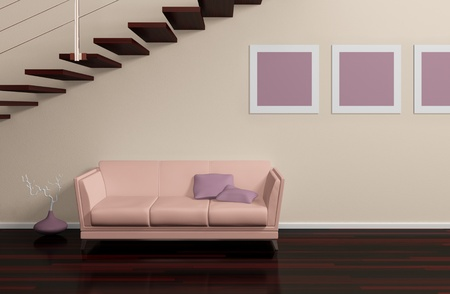 Modern interior composition with beige sofa, pictures on the wall and stairs photo
