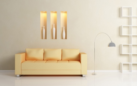 Yellow sofa, chromed lamp and  white shelf against beige wall. White vases inside decorative niches. Modern interior composition.3d rendered photo