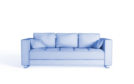 3d wireframe of a modern sofa. Isolated on white. photo