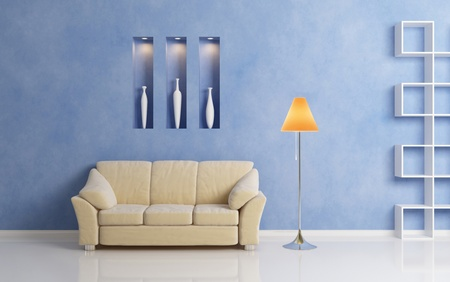 Beige sofa, chrome-plated lamp with orange shade, and  white shelf against blue wall. Modern inter composition.3d rendering. Stock Photo - 12218757