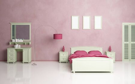 Modern bedroom interior composition with a green sofa. photo
