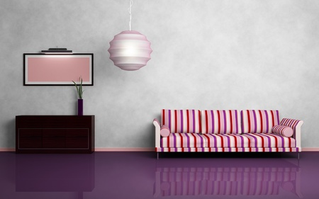 Gestreiftes Sofa, runde Kronleuchter, braune Kommode, rosa Bild mit Beleuchtung. Modernes Interieur Zusammensetzung. 3D gerendert.