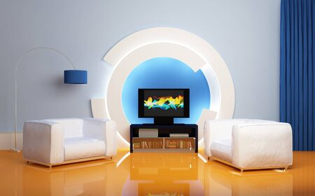 hidef: Two white armchairs, LCD tv with accessories against round decorative construction. Modern interior composition. 3d rendered.