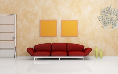 Luxurious modern interior composition with a red sofa. photo