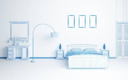 Modern interior composition. Wireframe 3d rendered illustration. illustration