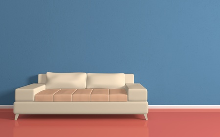 Interiour composition with a beige sofa.3d rendered. photo