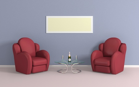 rich couple: Modern interior composition with a red armchairs. 3d rendered.