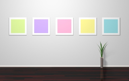 Modern interior with empty colorful frames on wall photo