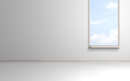 White empty room with opened window and blue cloudy sky behind.3d rendered. photo
