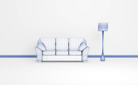 Modern sofa and stand lamp. 3d wireframe  rendering of a modern interior composition. photo