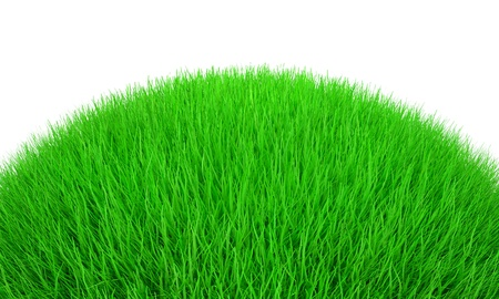 Bright green hill with 3d grass. Isolated on white. Stock Photo