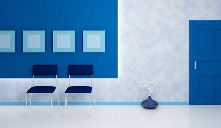 Office corridor.Two blue chairs, blue vase, blue door, and four blue empty pictures. Modern interior composition. 3d rendered. photo