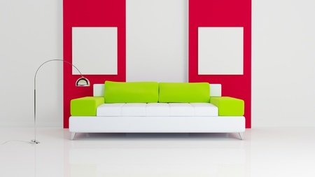 White sofa with green pillows, chromed lamp and two empty white pictures on red.  3d rendered. Modern interior composition. photo