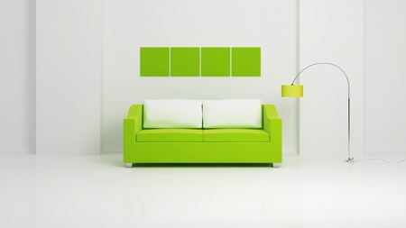 Green sofa with white pillows, empty green pictures on white wall and chromed lamp. Modern interior composition. 3d rendered. photo
