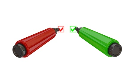 Red and green marker pens. 3d rendered. Isolated on white background. photo