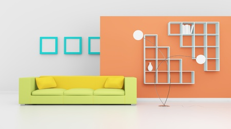 Modern interior composition with a yellow sofa and white shelves. 3d rendered. photo