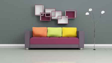 Purple sofa with colorful pillows, chromed lamp and shelves on grey wall. Modern interior composition. 3d rendered. Stock Photo - 12218081