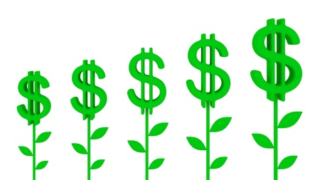 passive earnings: Dollar plants. Earnings growth concept.Isolated on white.3d rendered.