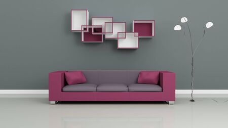 Purple sofa, chromed lamp and shelves on grey wall. Modern interior composition. 3d rendered. photo