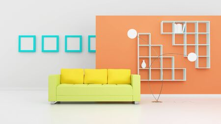 Modern interior composition with a yellow sofa and white shelves. 3d rendered photo
