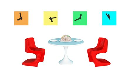 timezone: Lunch time concept.Isolated on white background. 3d rendered. Stock Photo