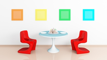 Two plastic red chairs, a dish on round glossy table, four colorful empty pictures on white wall. Modern interior composition. photo