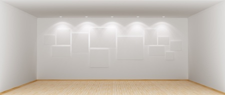 Wide and spacious empty room with blank wite pictures on wall. 3d rendered. photo