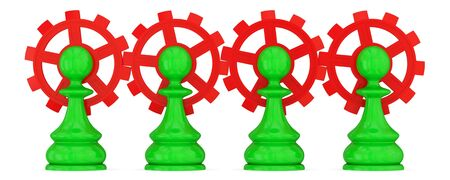 merged: Four green pawns merged with red gears. Teamwork concept. Isolated on white. Stock Photo