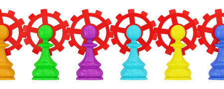 merged: Colorful pawns pawns merged with red gears. Teamwork concept. Isolated on white.