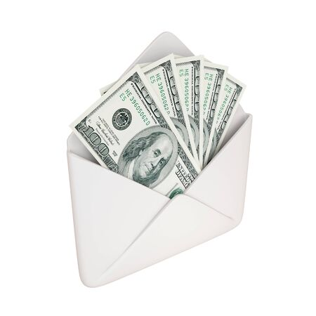 us open: Empty white cover with dollars pack inside. Isolated on white background. 3d rendered.