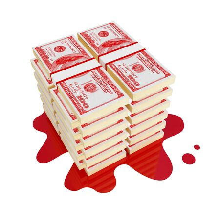 Red dollars stack with bloody stain . Bloody money concept. 3d rendered. Isolated on white. photo