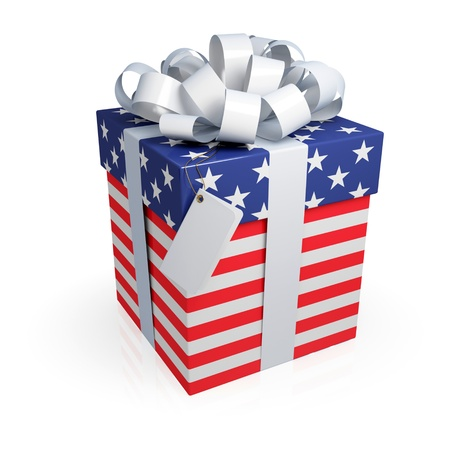 emigration and immigration: American gift box. 3d rendered. Isolated on white.