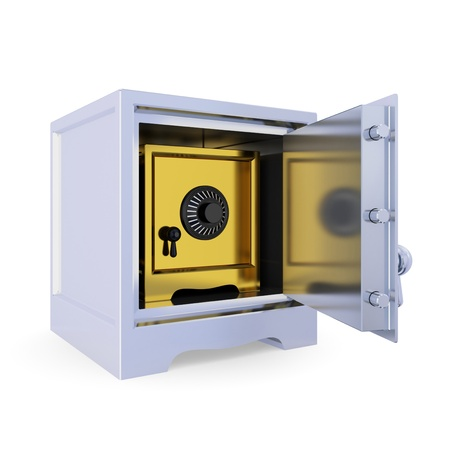 Opened iron safe and another golden safe inside. Double protection concept. Isolated on white background. 3d rendered. Stock Photo - 12217722